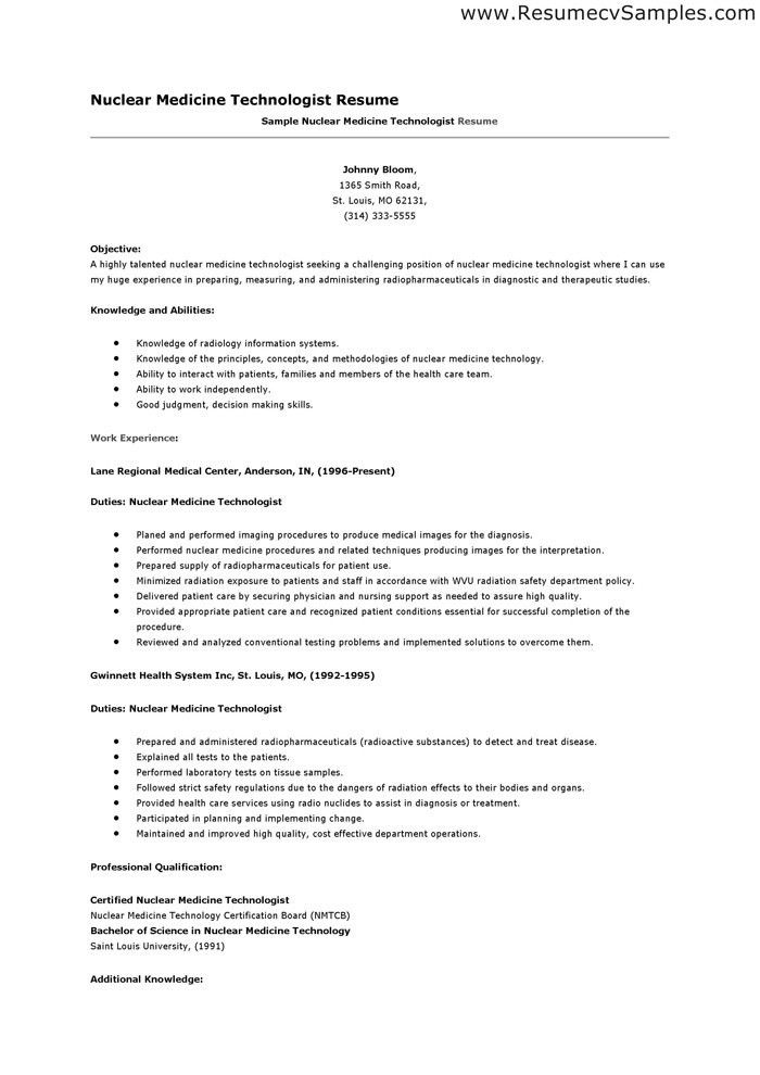Nuclear Medicine Technologist Resume Examples - Examples of Resumes - medical resume example