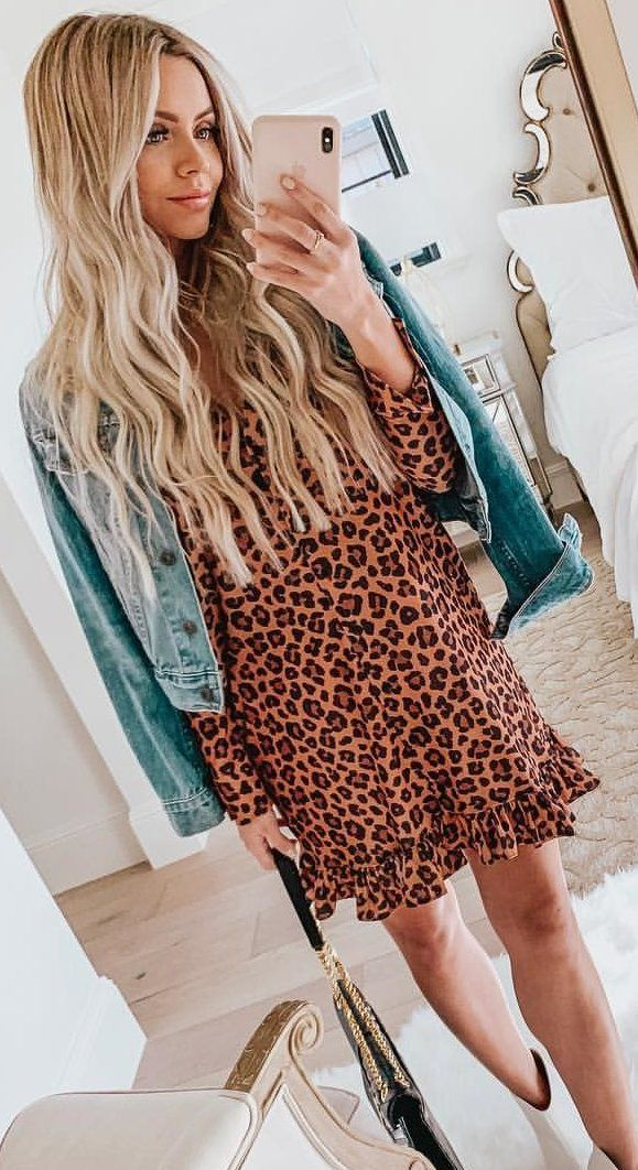 brown and black leopard print minidress