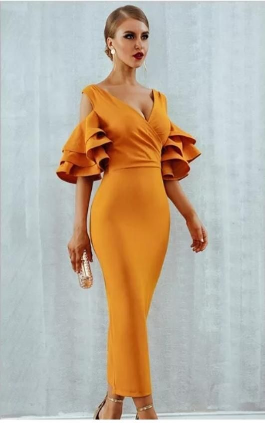 Glam orange long dress