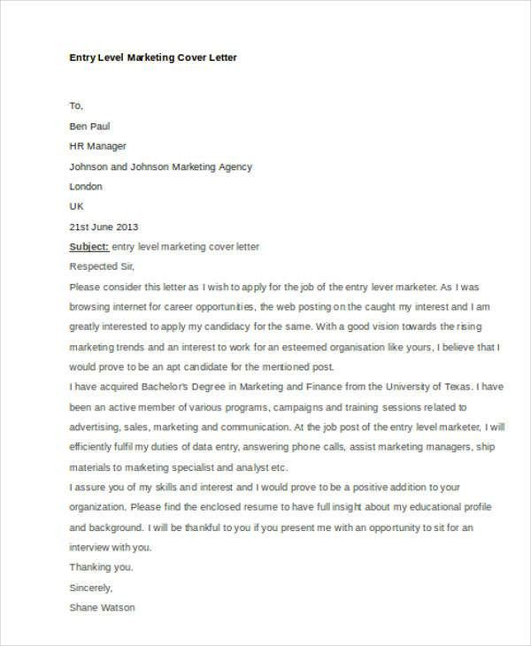 Cover Letter Entry Level Marketing Sample Entry Level Marketing - entry level marketing cover letter