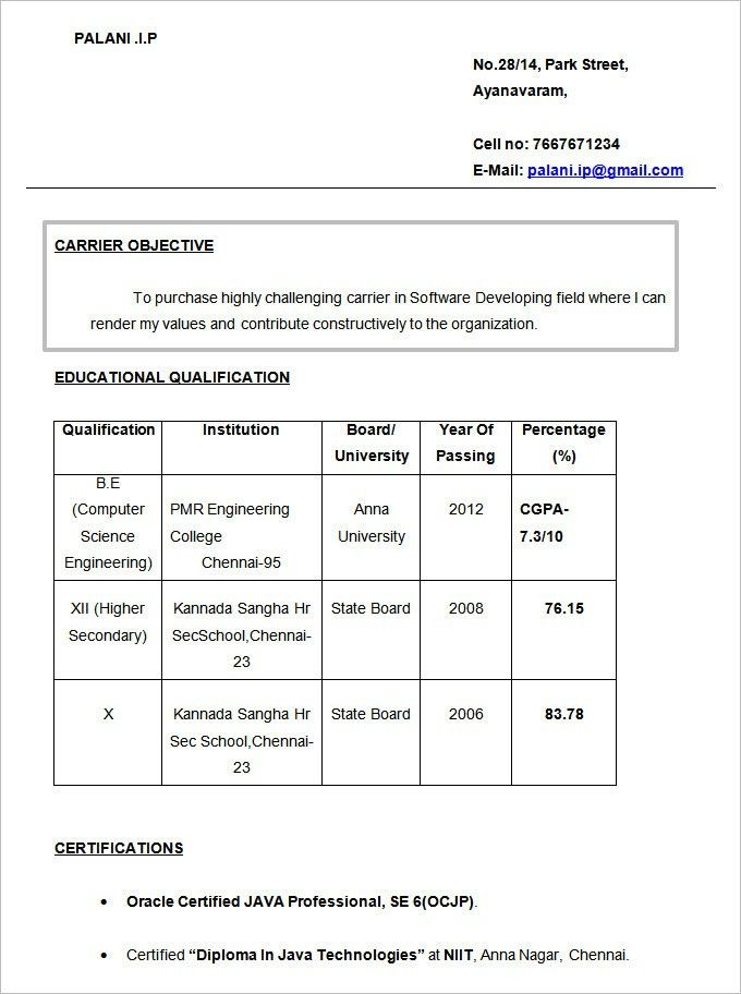 Free Resume Samples For Freshers Resume Template For Fresher 10