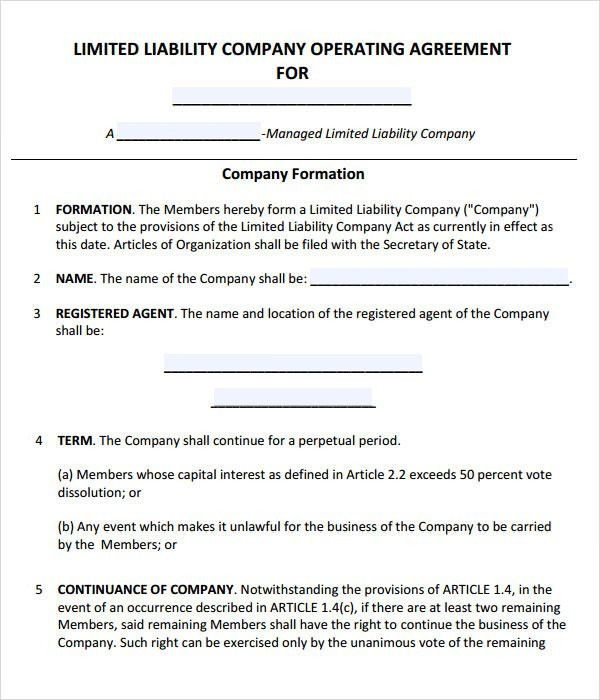 Sample Limited Liability Company Operating Agreement Llc - business operating agreement