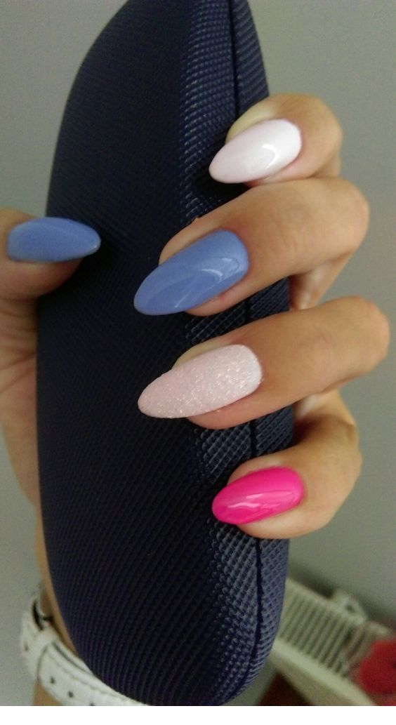 Nice blue and pink manicure
