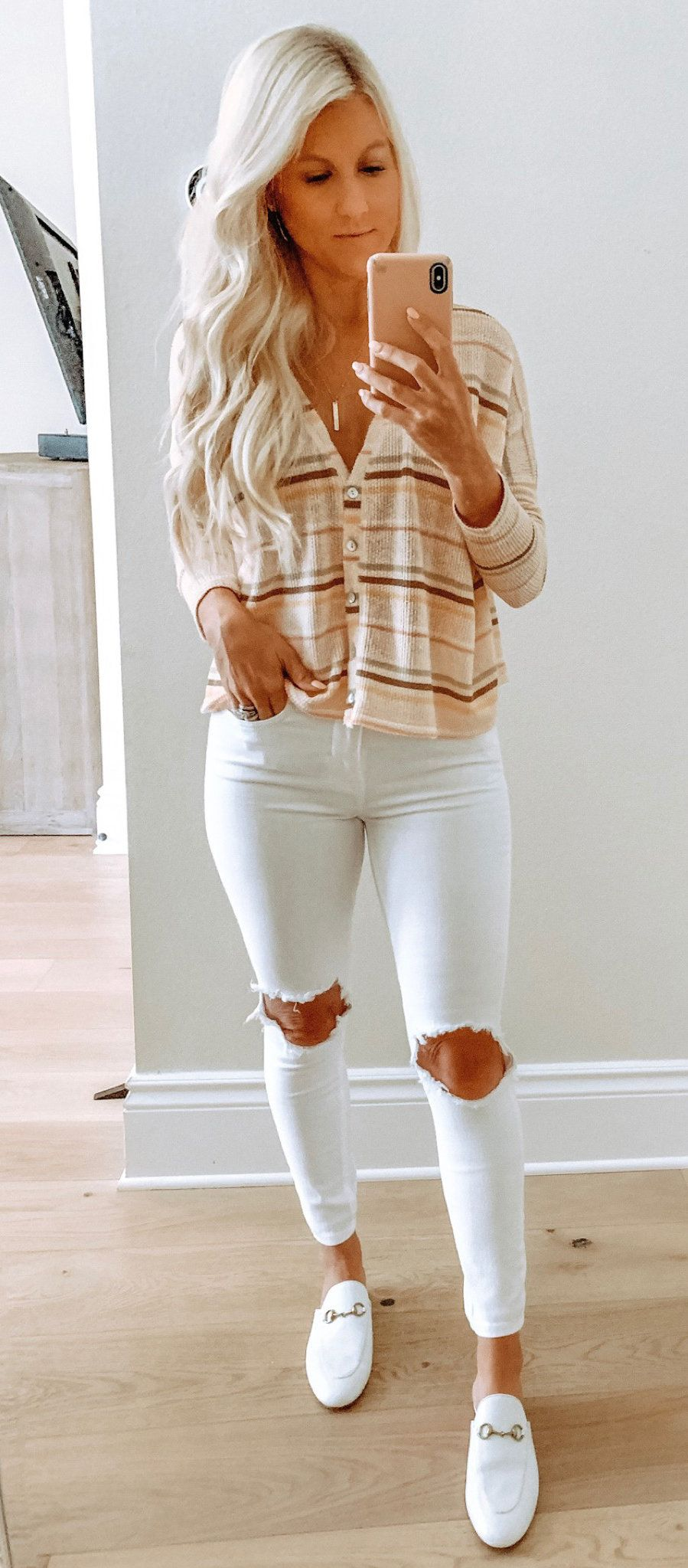 white and brown button-up jacket and distressed white jeans #spring #outfits