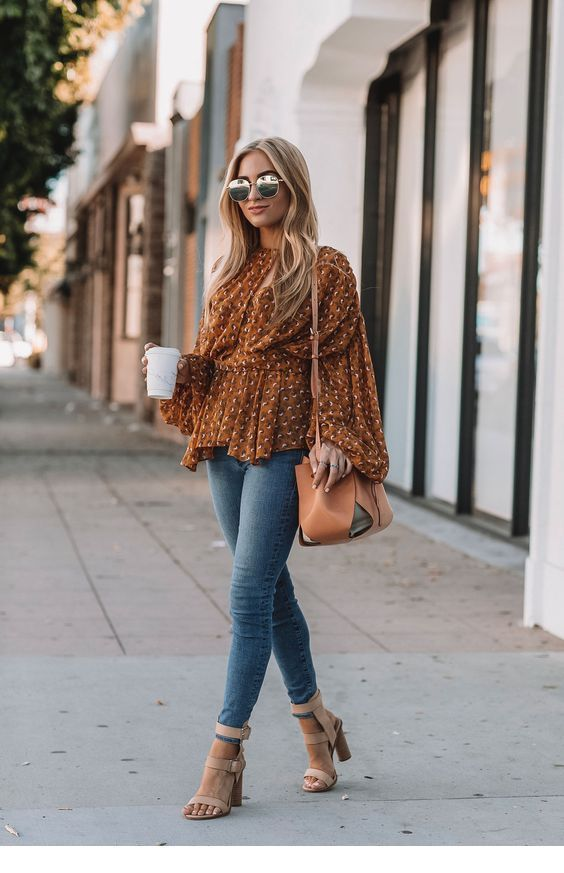 Amazing brown printed blouse for fall