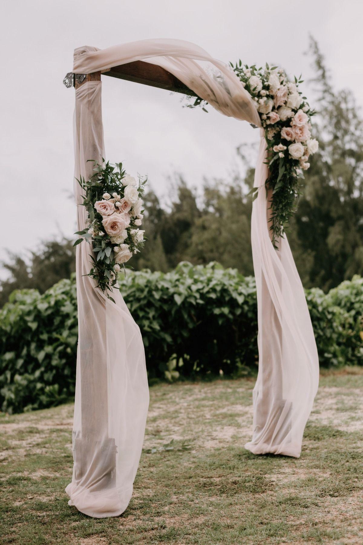 blush drapery outdoor wedding arch ideas