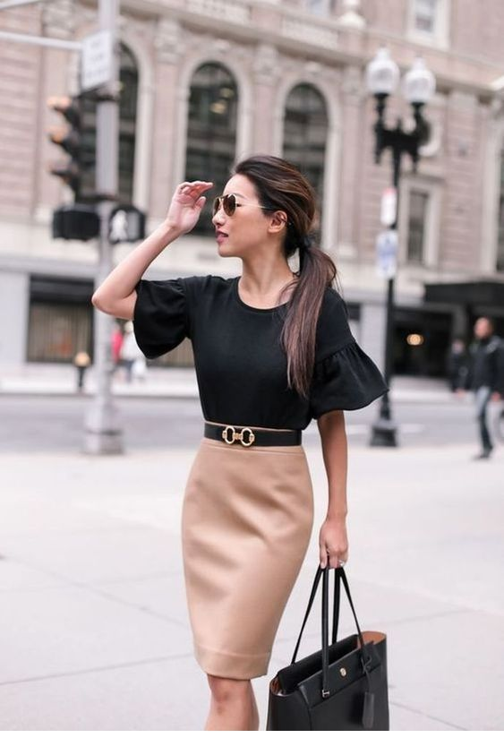 Nice black top and pencil skirt with a belt