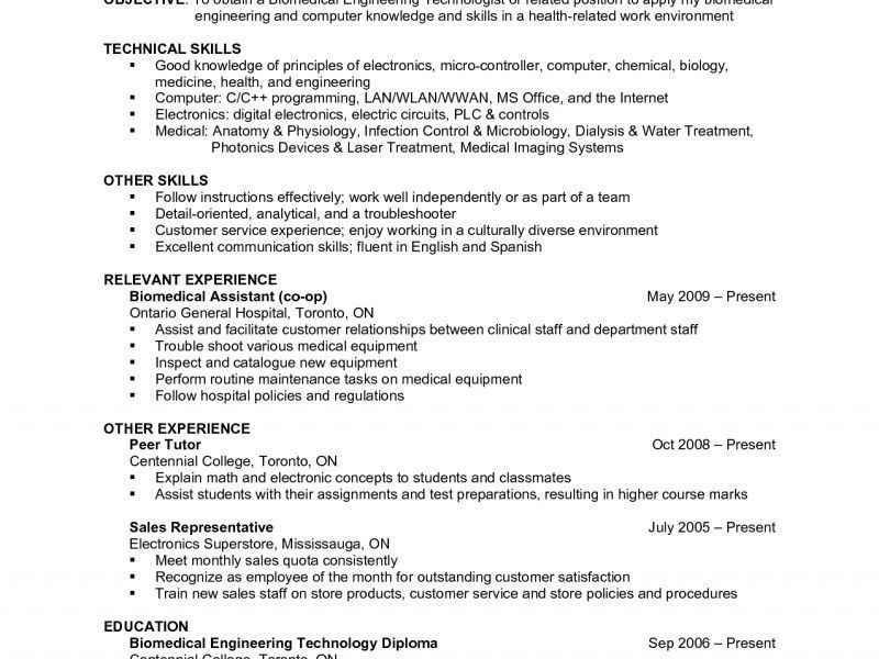 Biomedical Field Service Engineer Sample Resume] Download ...