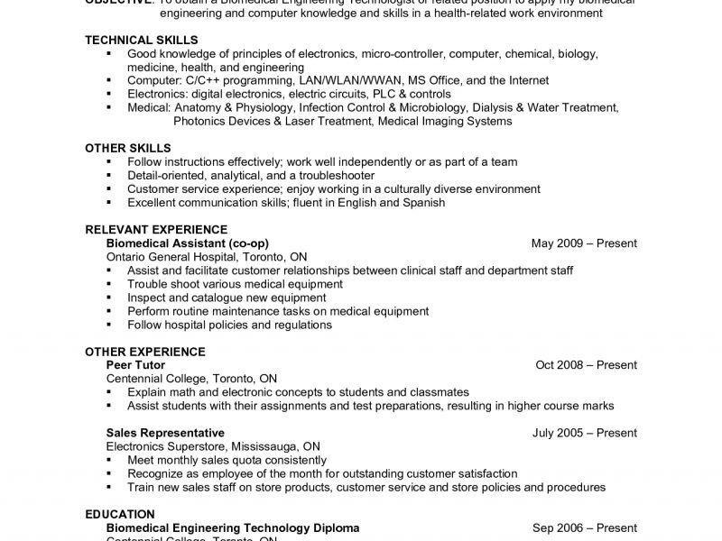 Biomedical Field Service Engineer Sample Resume] Download ...