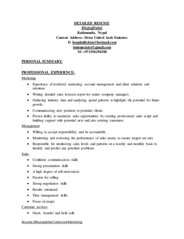 Detailed Resume Examples Examples of Resumes