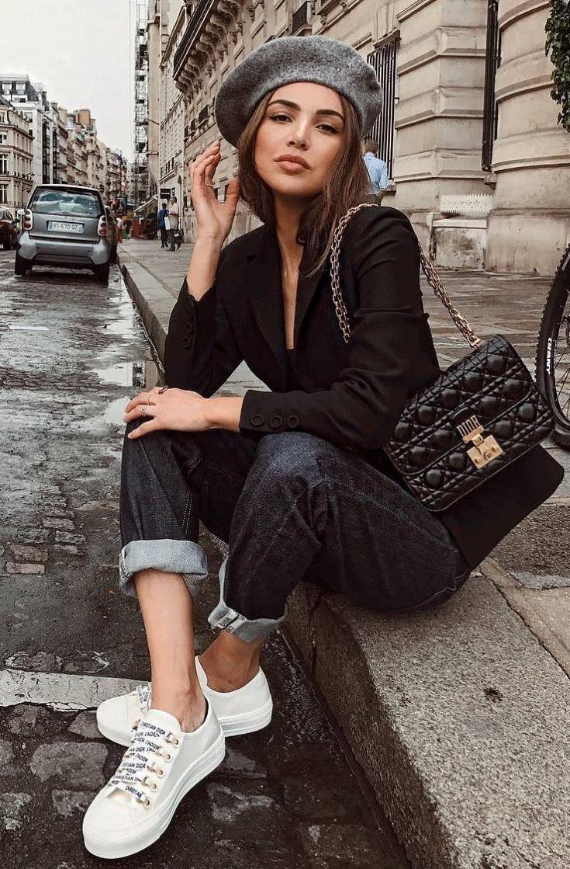 fashion trends   grey hat + crossbody bag + black blazer + jeans + sneakers
