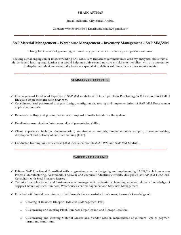 sap sd consultant cover letter