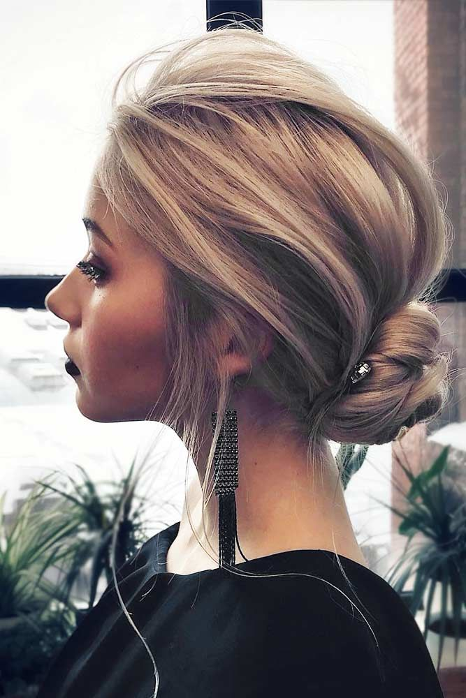 Messy Low Bun #bunhairstyles #blondehair ★ Cute and easy shoulder length hairstyles for thin and for thick hair can be found here. These styles can work for adult women and for teens. #glaminati #lifestyle #shoulderlengthhairstyles