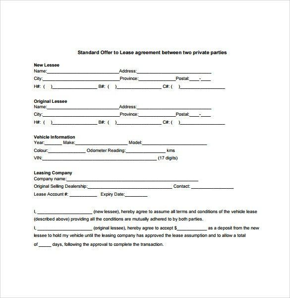 Example Of Agreement Between Two Parties Simple Contract Template - sample vehicle lease agreement