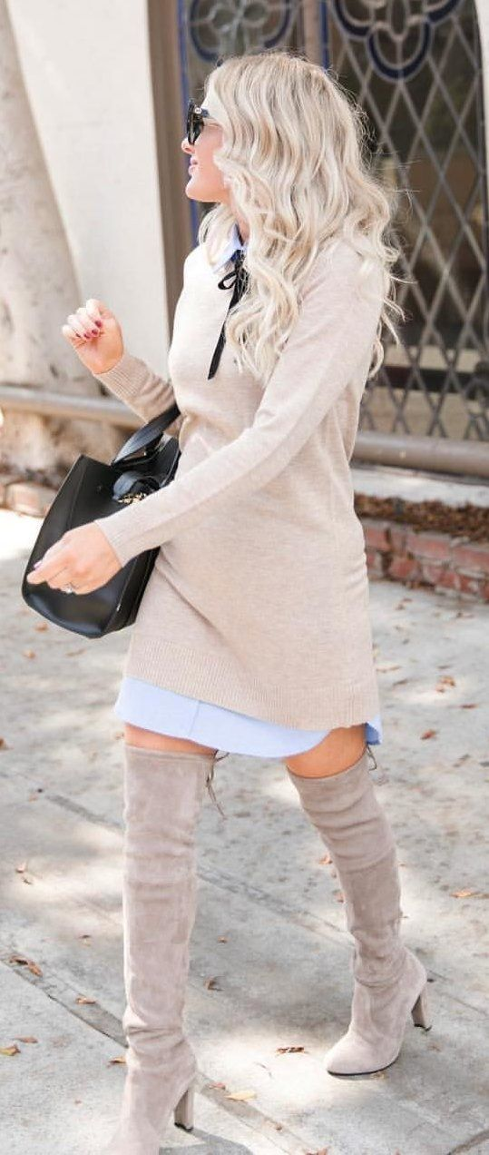 beige long-sleeved dress