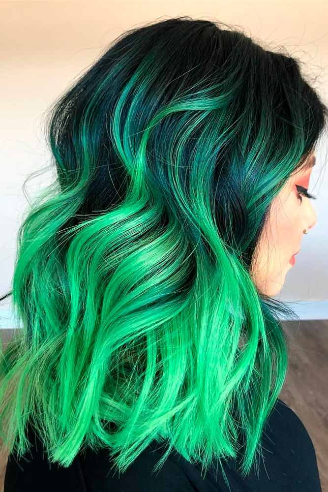 Bold Green Ombre Hair #colorfulhair #ombrehair ★ Looking for the latest green hair ideas? In our guide, we've put together the best options to match any taste, from light pastel mint balayage on a short bob to dark and bright emerald ombre on long locks. #glaminati #lifestyle #greenhair