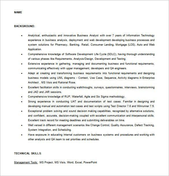 functional analyst resume
