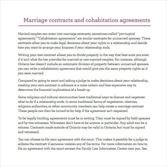 How To Write A Contract Agreement Between Two People Non - marriage contract template
