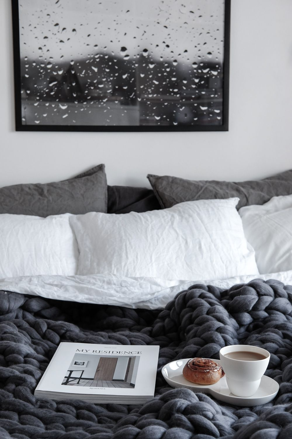 Breakfast in Bed | Scandinavian Grey Bedroom with Raindrops Print and Chunky Wool Blanket