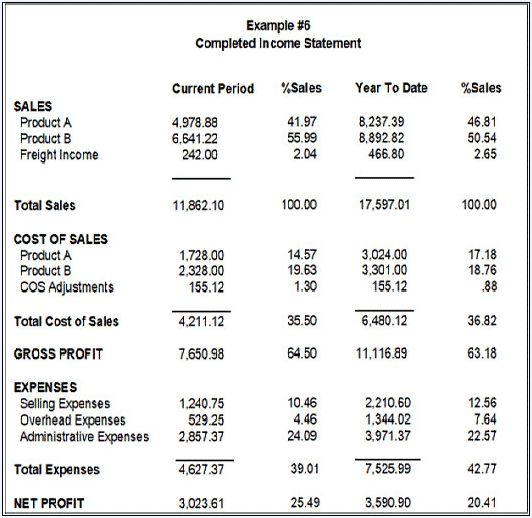 Financial Statement Example Income Statement Example Template - sample financial report