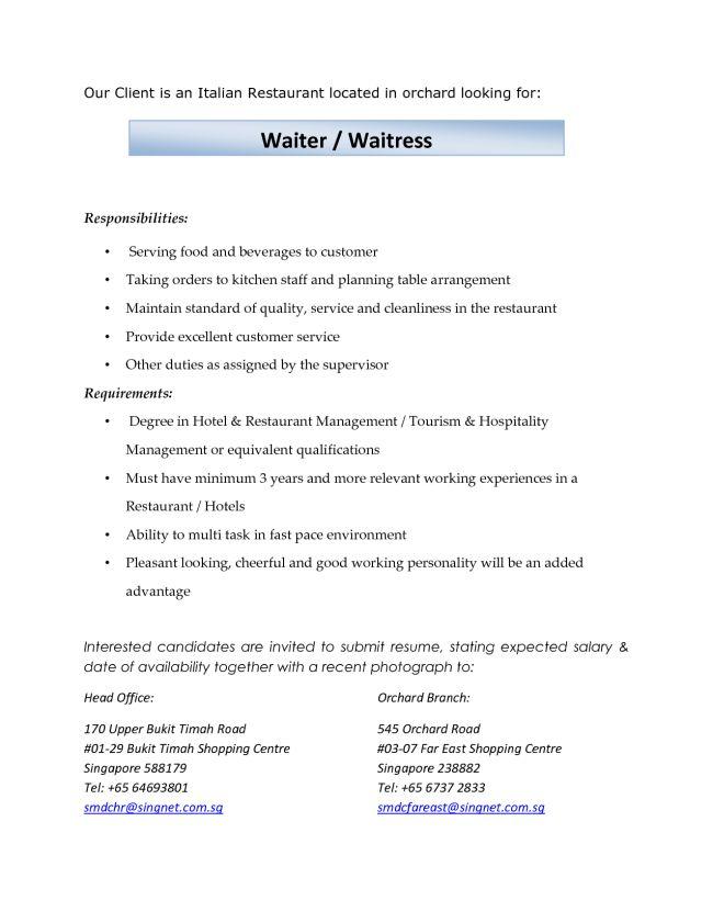 waiter resume format free server resume example server resume resume examples for waitress