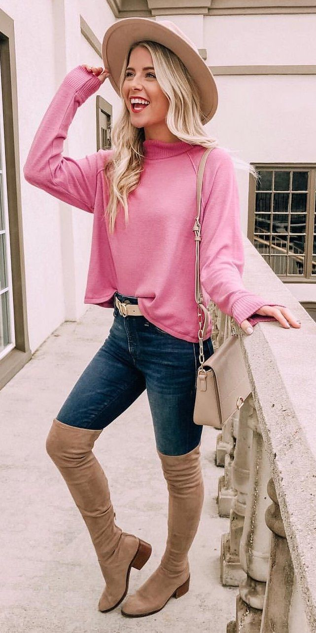 pink long-sleeved shirt