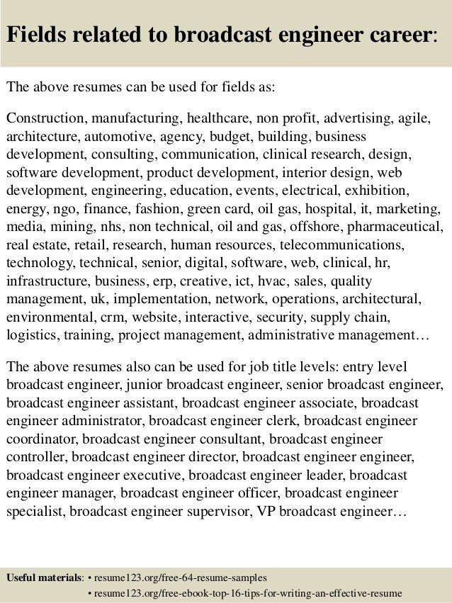 broadcasting engineer resume - Tomadaretodonate