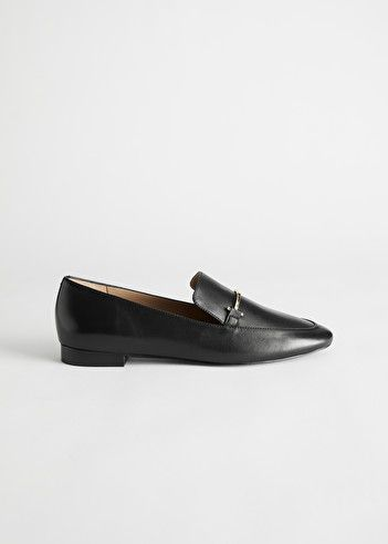 Smooth Leather Buckle Loafers - Black - Loafers - & Other Stories