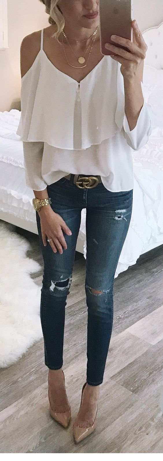 Cute white blouse with ruffles and jeans