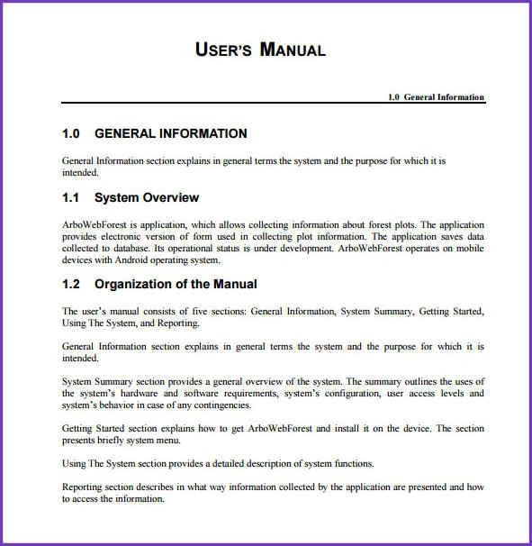 End User Documentation Template User Guide Template Download Ms - software manual template