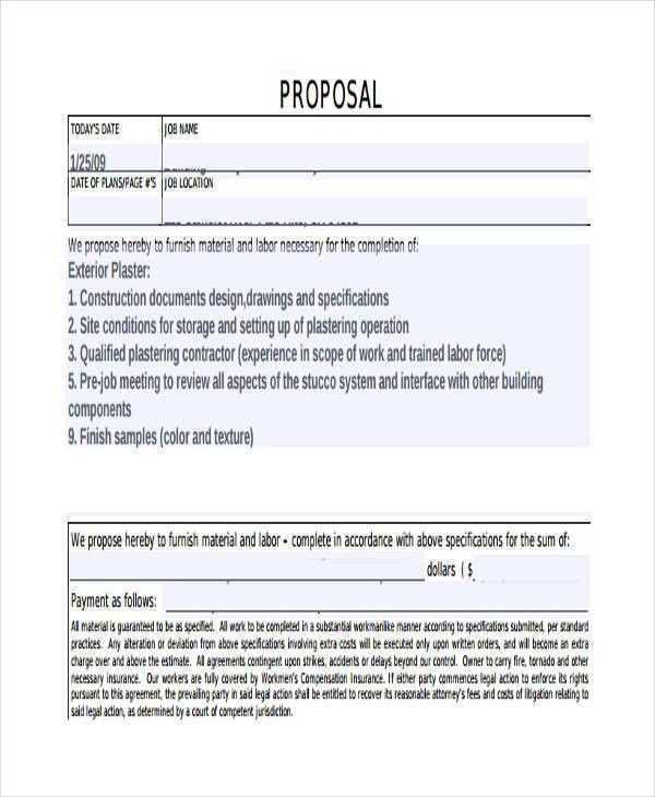 Construction Proposal Form Construction Bid Form Office Templates - sample proposal contract