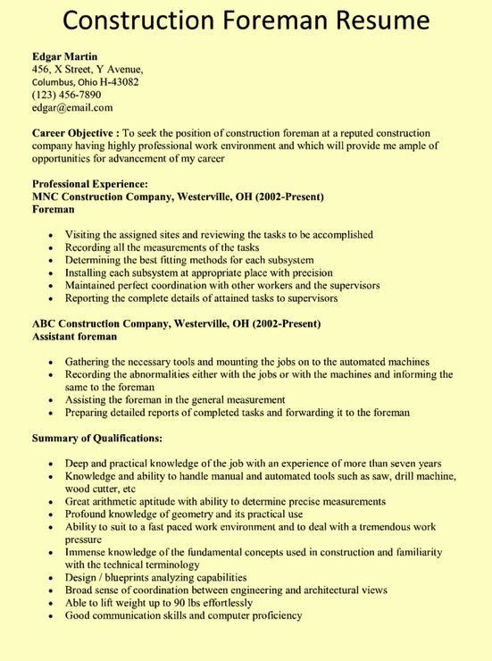 Construction Superintendent Resume Examples And Samples Resume - construction resume example
