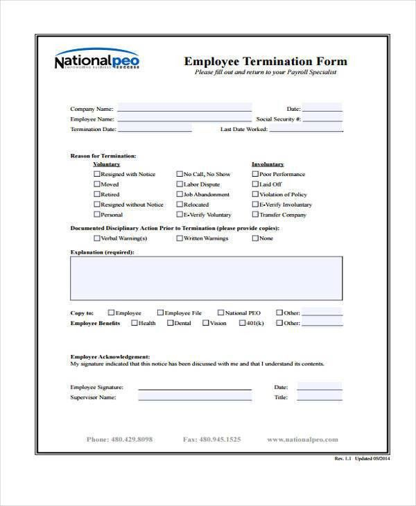 Employee Separation Form Template  OloschurchtpCom