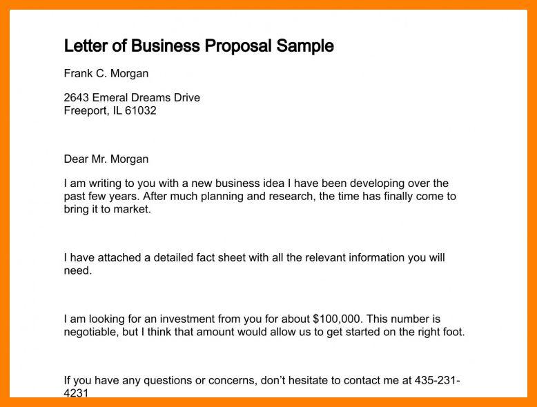 business proposal sample tutornowinfo - sample business proposals