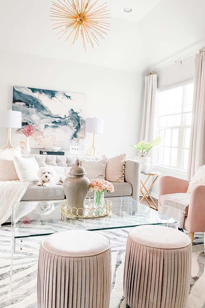 White And Pink Colors For Living Room