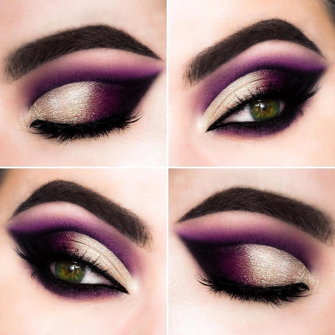 Cut crease makeup – purple gold • IG @misslilith #Eyemakeup #EyeMakeupBright