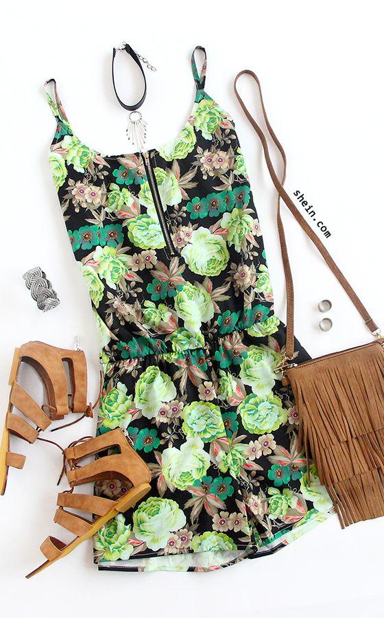 Flower Print Zip Front Cami Romper