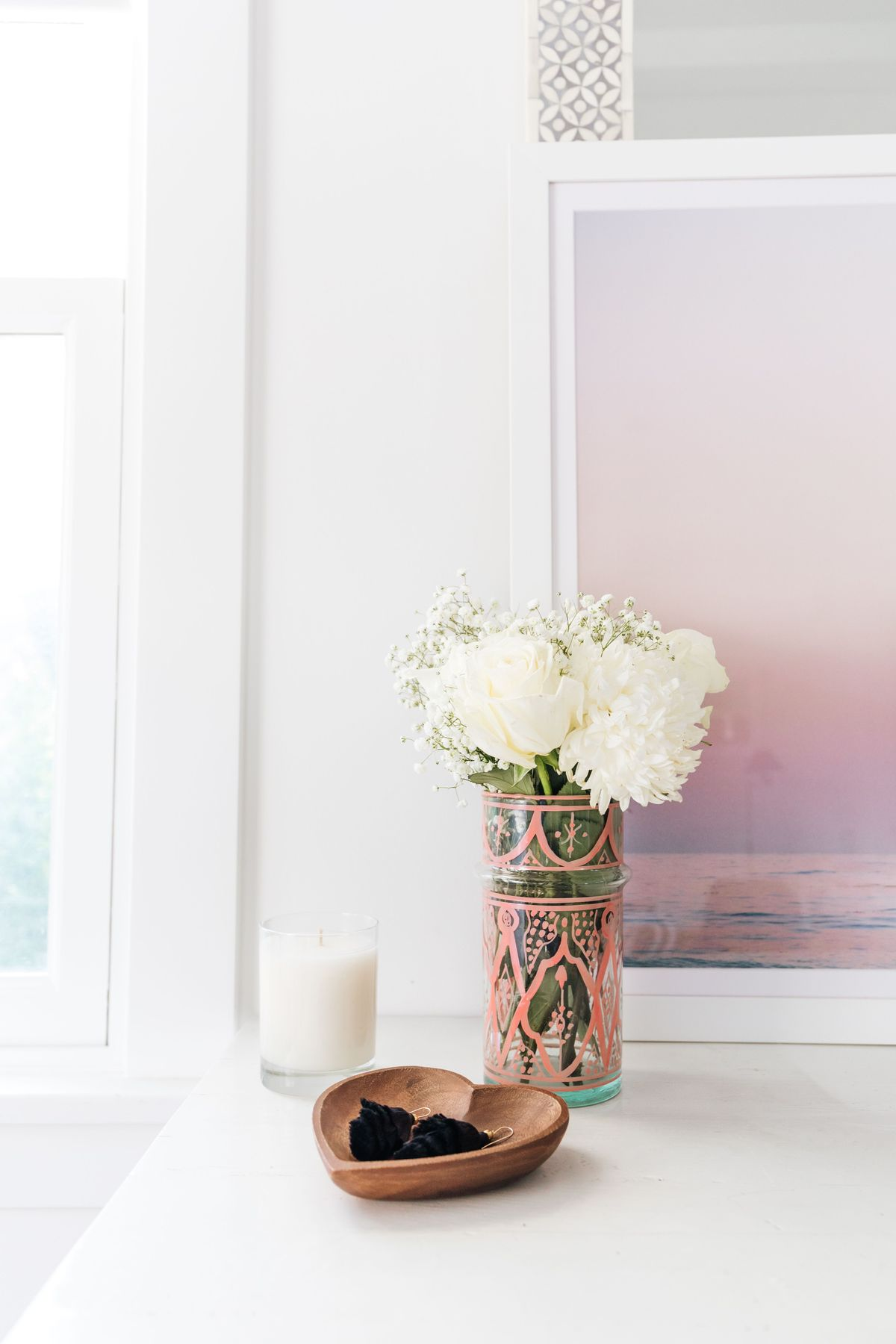 Moroccan Glass Vase in Blush