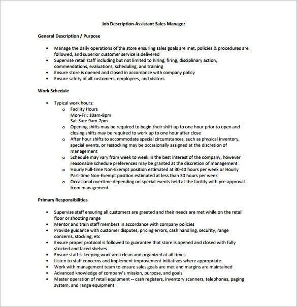 Assistant Credit Manager Job Description Assistant Manager Job - assistant manager job description