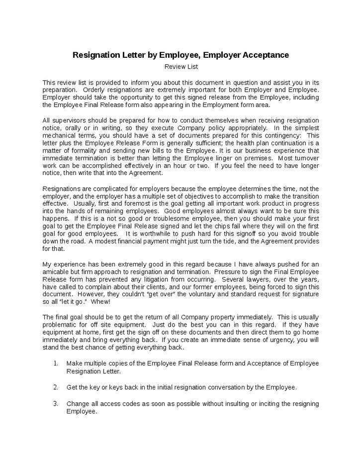 Employer Resignation Letter To Employee Employee Resignation - employment resignation letter