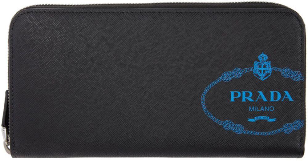 // Prada: Black Logo Continental Zip Wallet | SSENSE