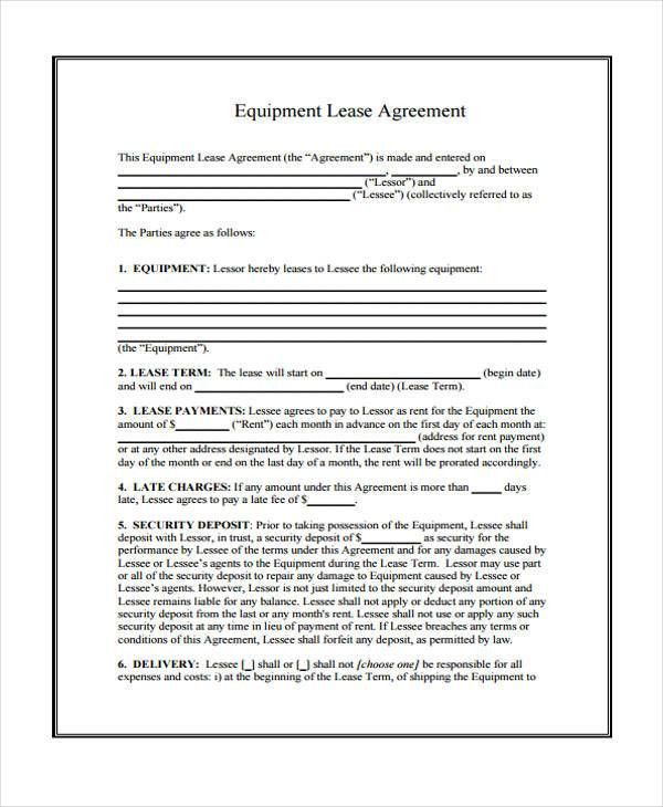 Equipment Lease Form Template 12 Equipment Rental Agreement - equipment rental agreement sample
