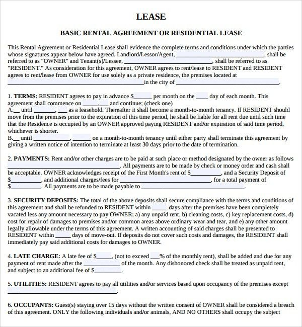 Samples Of Lease Agreement Lease Agreement Create A Free Rental - sample owner operator lease agreement