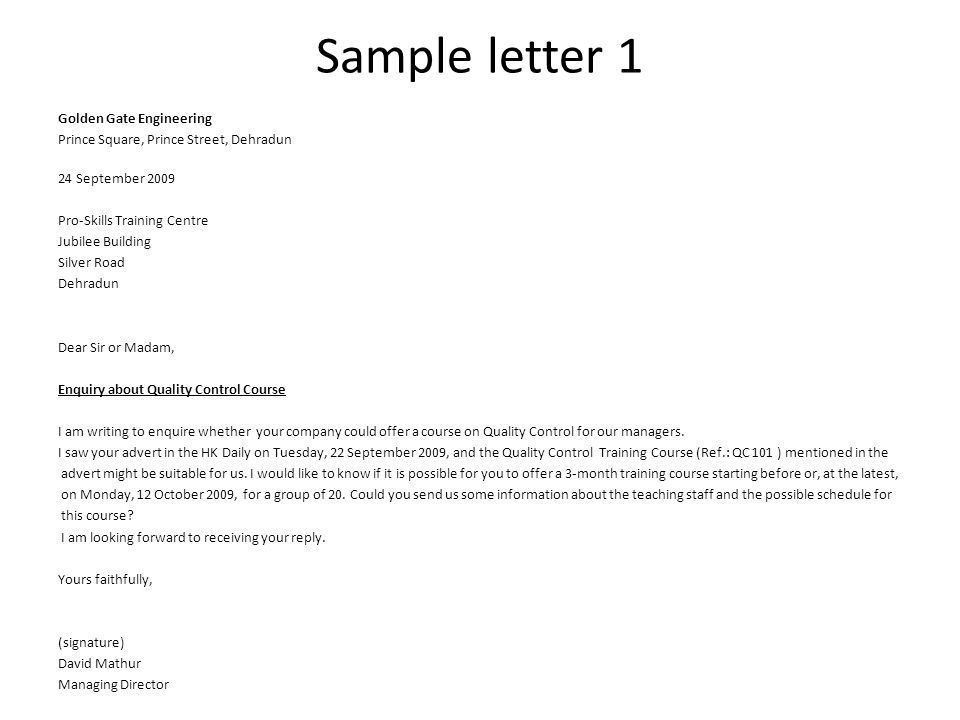 Inquiry Letters Example Example Of Inquiry Letter In Business The - inquiry letter