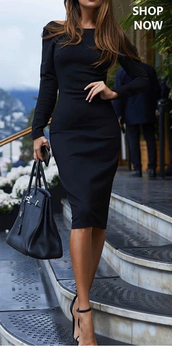 I love this lady look black dress