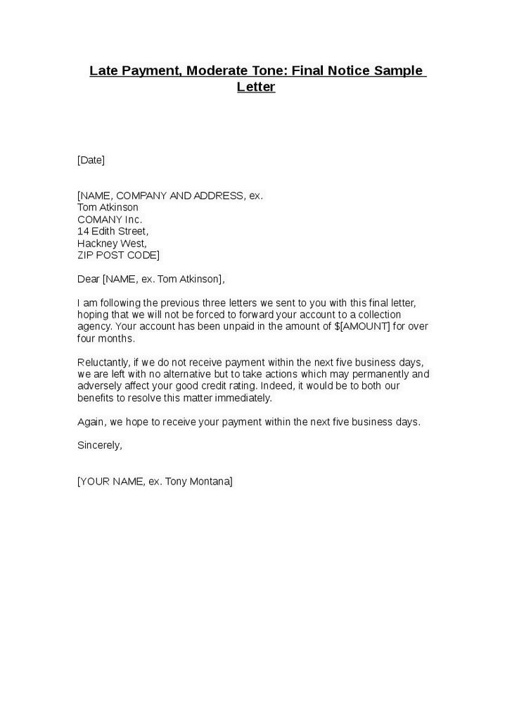 Notice Letter For Payment Notice Of Overdue Payment Template - sample final notice letter