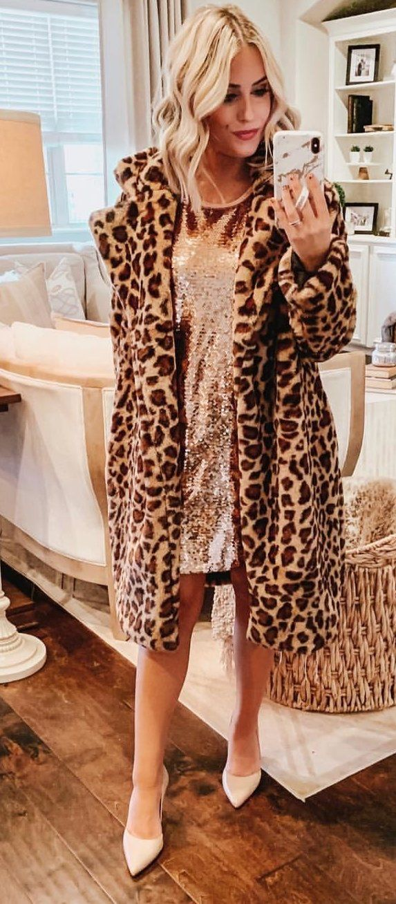 black and brown leopard print coat