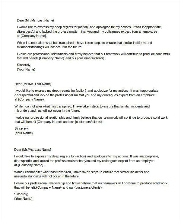 Apology Letter Sample To Boss Apology Letter To Boss For Poor - formal apology letters