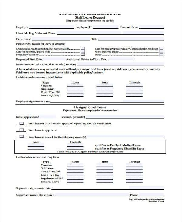 leave request form sample resumesamplecsat - example of leave form