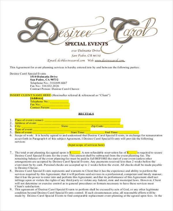 Event Coordinator Contract Sample Sample Contracts For Event - event planner contract